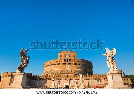 Castel Sant'angelo and Bernini's statue on the bridge, Rome, Italy.