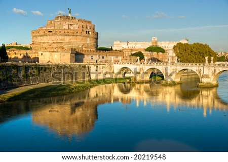 Castel Sant'angelo and Bernini's statue on the bridge, Rome, Italy. Palace of justice, (palazzaccio) on the background.