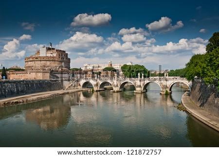 Castel Sant Angelo and Bernini's statues on the bridge, Rome, Italy