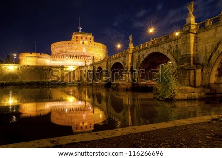 Castel Sant\'Angelo at night (Castle of the Holy Angel), Rome