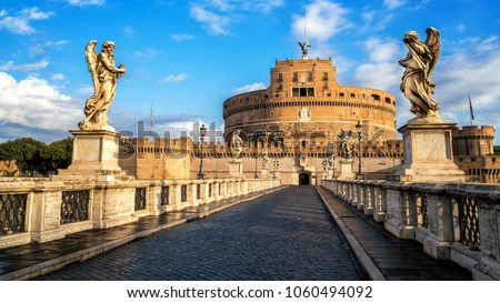 Castel Sant Angelo or Mausoleum of Hadrian in Rome Italy, built in ancient Rome, it is now the famous tourist attraction of Italy. Castel Sant Angelo was once the tallest building of Rome. #1060494092