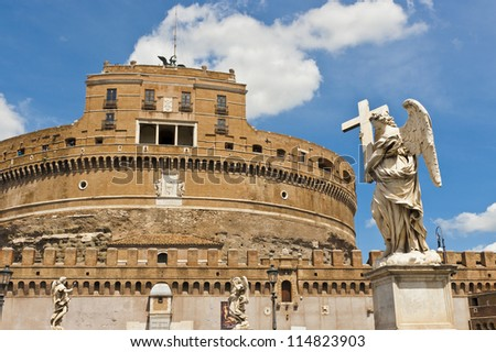 Castel Sant' Angelo with an angel statue in the foreground in Rome, Italy