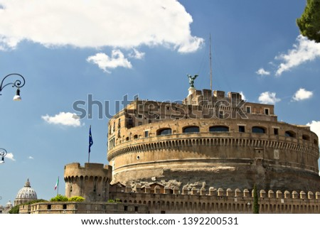 Castel Sant'Angelo with the European flag. Rome, Italy. 05/02/2019. In the background the dome of the Basilica of San Pietro. #1392200531