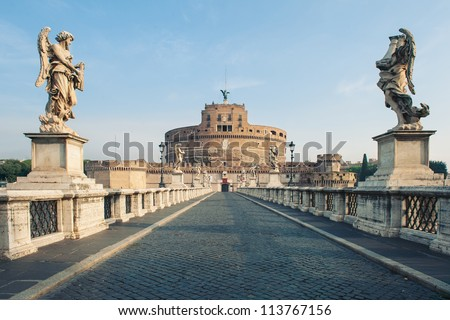 Castel Santangelo fortress and bridge view in Rome, Italy.