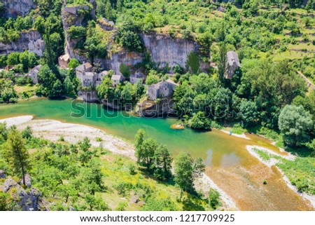 Castelbouc, troglodytic village in the valley of the Tarn river and the canyon, Occitanie, France