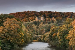 Castell Coch, the Red Castle, on the outskirts of Cardiff, Wales, in the autumn