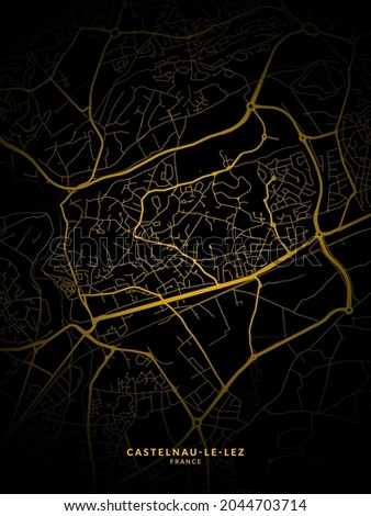 Castelnau-le-Lez, France Map - Castelnau-le-Lez City Gold Map Poster Wall Art Home Decor Ready to Printable  Photo stock ©