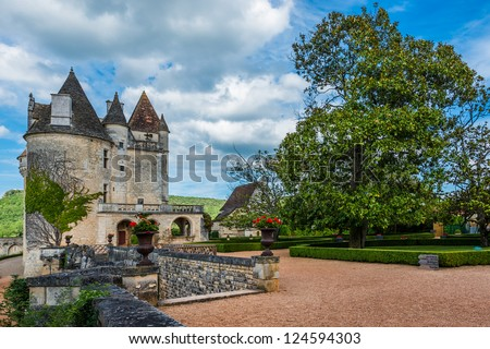 CASTELNAUD-LA CHAPELLE, FRANCE - JUNE 22, 2012: exterior of Chateau des Milandes which belongs to Josephine Baker, June 22, 2012 at Dordogne Perigord France