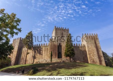 Castelo de Guimaraes Castle. Most famous castle in Portugal. Birth place of the first Portuguese King and the Portuguese nation. Guimaraes, Portugal. #1179767113