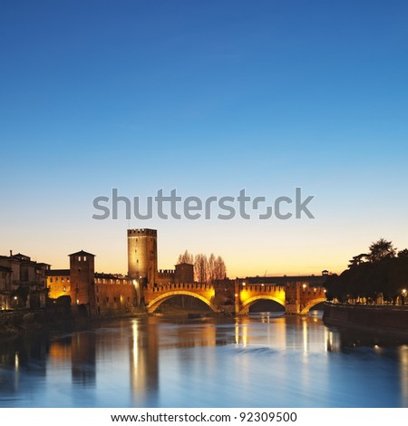 Castelvecchio at Adige River night. Verona - Italy.