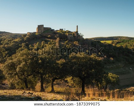 Castillo De Alba is a Templar castle belonging to Losacino, Zamora.  Nestled in a beautiful landscape next to a reservoir. Photo stock ©