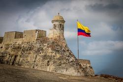 Castillo de San Felipe and colombian flag - Cartagena de Indias, Colombia