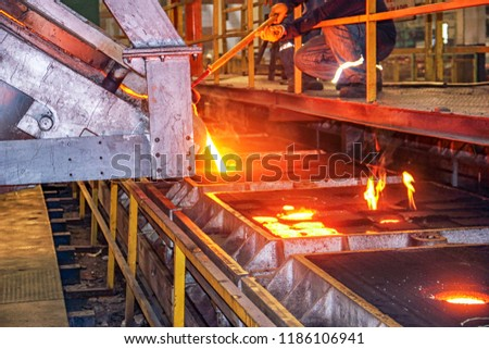 Casting and foundry. Casting is the process from which solid metal shapes (castings) are produced by filling voids in molds with liquid metal. The basic steps involved in making castings. #1186106941