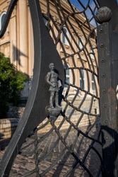 Castl gate on the Hill of Budapest,forged gates royal palace Вudapest.
