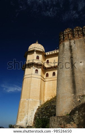Castle and fortified walls of Kumbhalgarh Fort in Rajasthan, India, Asia