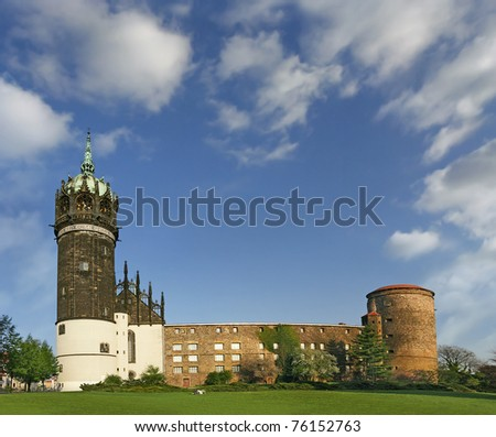 Castle and the Castle Church of Luther City Wittenberg in Germany. It is told in 1517 Martin Luther posted his 95 zheses on zhe door of the main entrance. UNESCO World Heritage Site