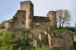 castle and village of belcastel france old house feudal middle ages ruins scenery heritage
