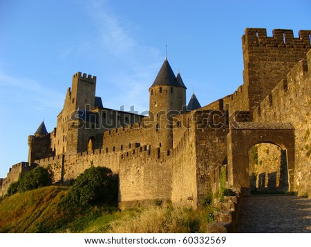Castle at Carcassonne, France at sunset