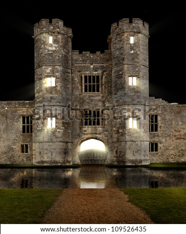 Castle at night with moat