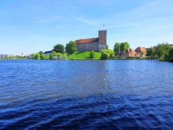 Castle by a lake in Kolding, Denmark