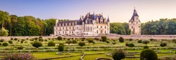 Castle Chateau de Chenonceau, France. This Renaissance castle is one of main landmarks in France. Scenic panoramic view of French palace and beautiful garden. Summer nice landscape in Loire Valley.