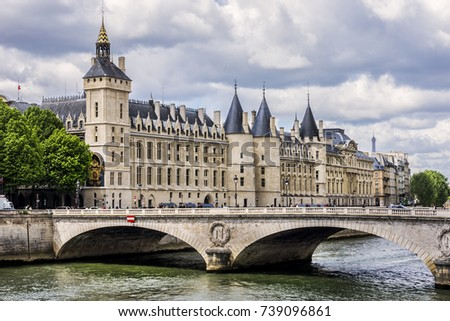 Castle Conciergerie - former royal palace and prison. Conciergerie located on the west of the Cite Island and today it is part of larger complex known as Palais de Justice. Paris, France.  Photo stock ©