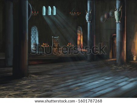 Castle. 3D illustration. Hall of the gloomy castle with a throne. Hall of the gloomy castle with a throne.