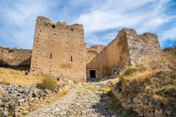 Castle gate of the old Venetian castle of Acrokorinth, the Acropolis of ancient Corinth in Peloponnese, Greece