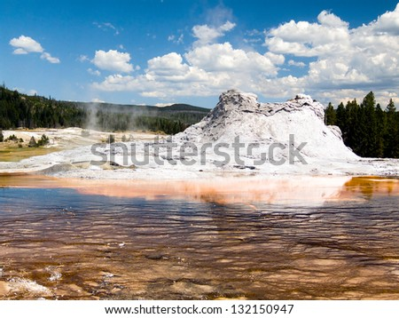 Castle Geyser in the Upper Geyser Basin of Yellowstone National Park, Wyoming, USA