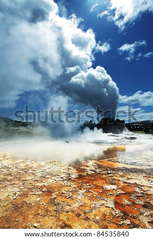Castle geyser in Yellowstone National Park,USA - stock photo