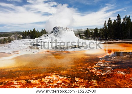 Castle Geyser (Upper Geyser Basin) - Yellowstone National Park.
