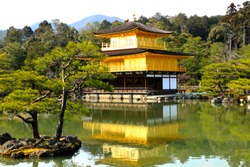 Castle Gold  (Kinkaku-ji), Kyoto in Japan is a beautiful place with lots of people to visit