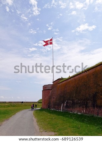 Castle. Green grass and  blue sky  with copy space #689126539