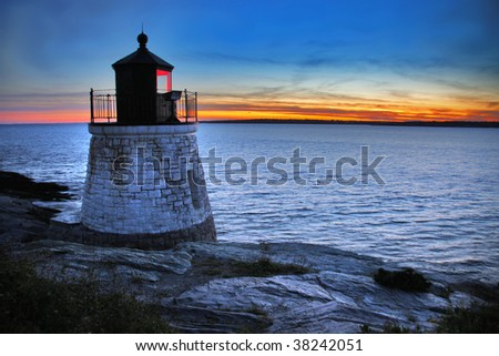 Castle Hill Lighthouse in Newport Rhode Island - stock photo