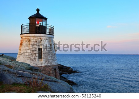 Castle Hill Lighthouse in Newport Rhode Island at sunrise