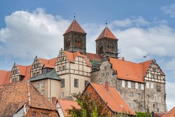 Castle hill with collegiate church of St. Servatius, UNESCO World Heritage Site, in Quedlinburg, Germany