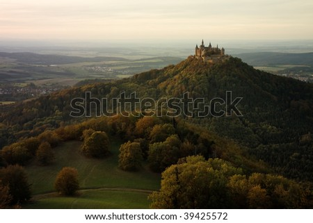 Castle Hohenzollern in the fall evening light