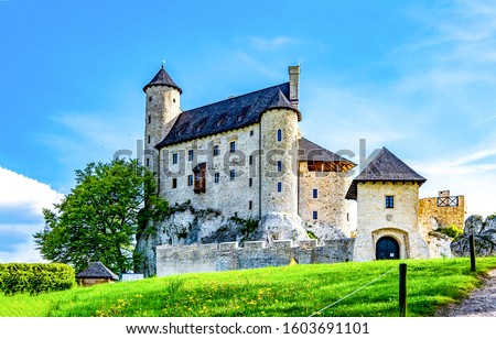 Photo of  Castle house landscape. Castle facade. Medieval castle landmark. Castle view