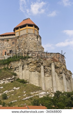 Castle in Esztergom from Hungary with blue sky and white clouds - stock photo