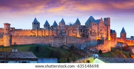 Castle in sunset time.  Carcassonne, France