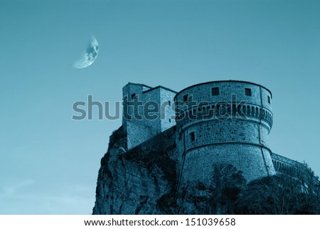 castle in the night under starry sky