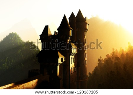 Castle in the sunset sunrise in the Mountains 3D render