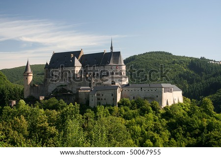 Castle in Vianden, Luxembourg on a summers morning