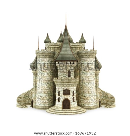 Castle, isolated on the white background  stock photo