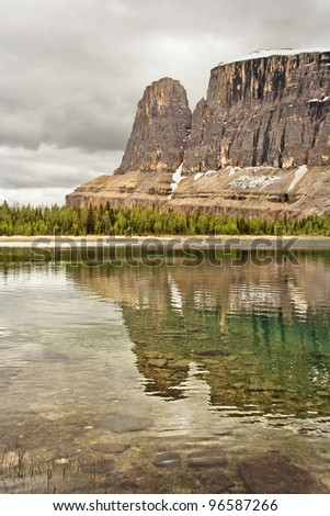 Castle Mountain & Rockbound Lake, 20 Miles west of Banff, Banff National Park, Alberta, Canada - stock photo