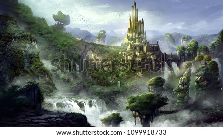 Castle Mountain with Fantastic, Realistic and Futuristic Style. Video Game's Digital CG Artwork, Concept Illustration, Realistic Cartoon Style Scene Design