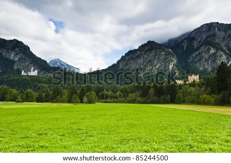 Castle Neuschwanstein and hohenschwangau with alps in the background in autumn