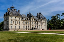 Castle of Cheverny (Chateau de Cheverny), is located between Blois and Chambord and a few kilometers below Cheverny village, and is one of best preserved castles in all of France. Loire Valley, France