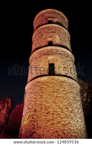 Castle of grimaud at night, Castle of the medieval village of grimaud, department of the Var, France