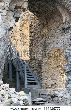 Castle of Lietava. Interior walls with stairs. Slovakia.